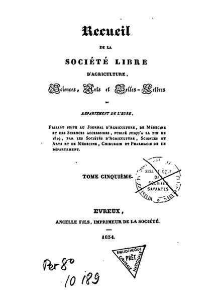 Recueil de 1834