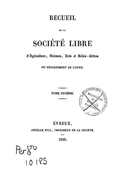 Recueil de 1839